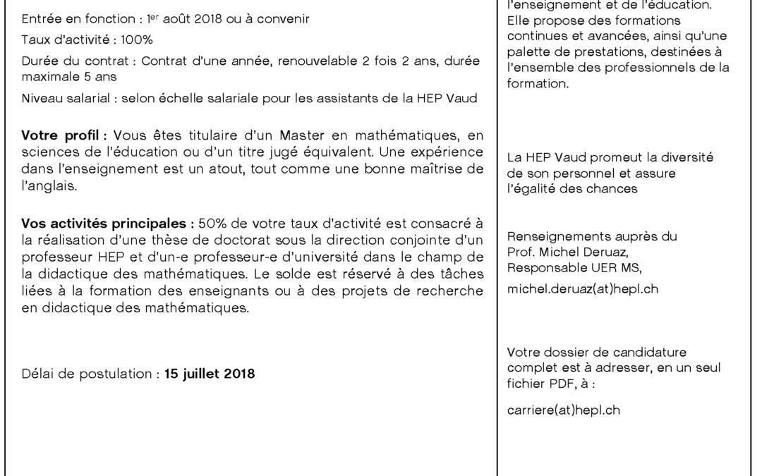Assistant-e en didactique des mathématiques à la HEP-Vaud (Lausanne)